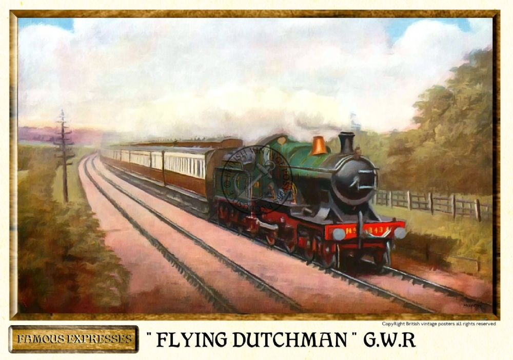 G w r flying dutchman vintage steam train poster for Vintage train posters