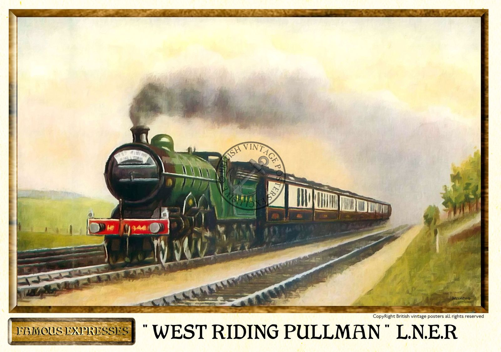 L n e r west riding pullman vintage steam train poster for Vintage train posters