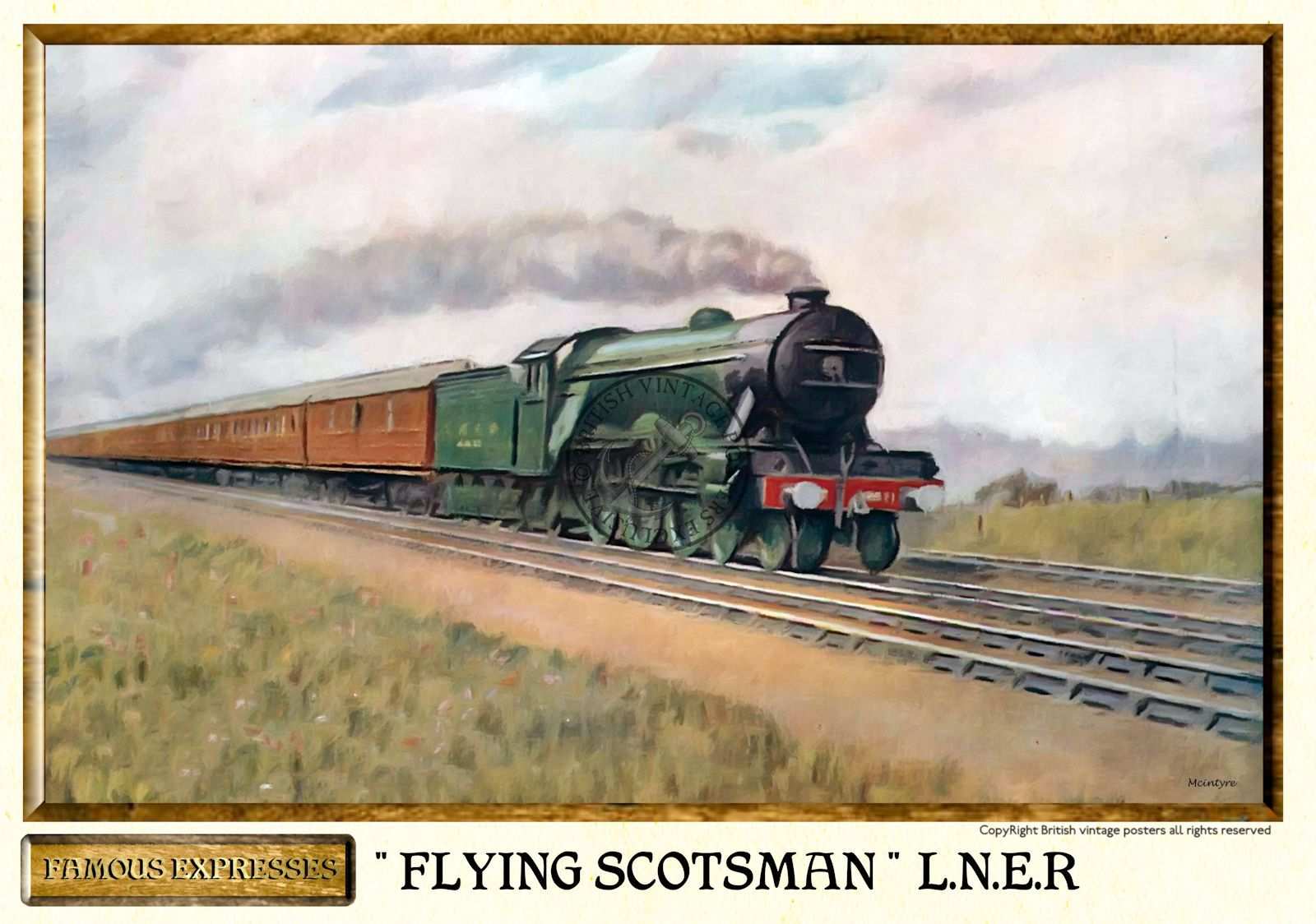 L n e r the flying scotsman vintage steam train poster for Vintage train posters
