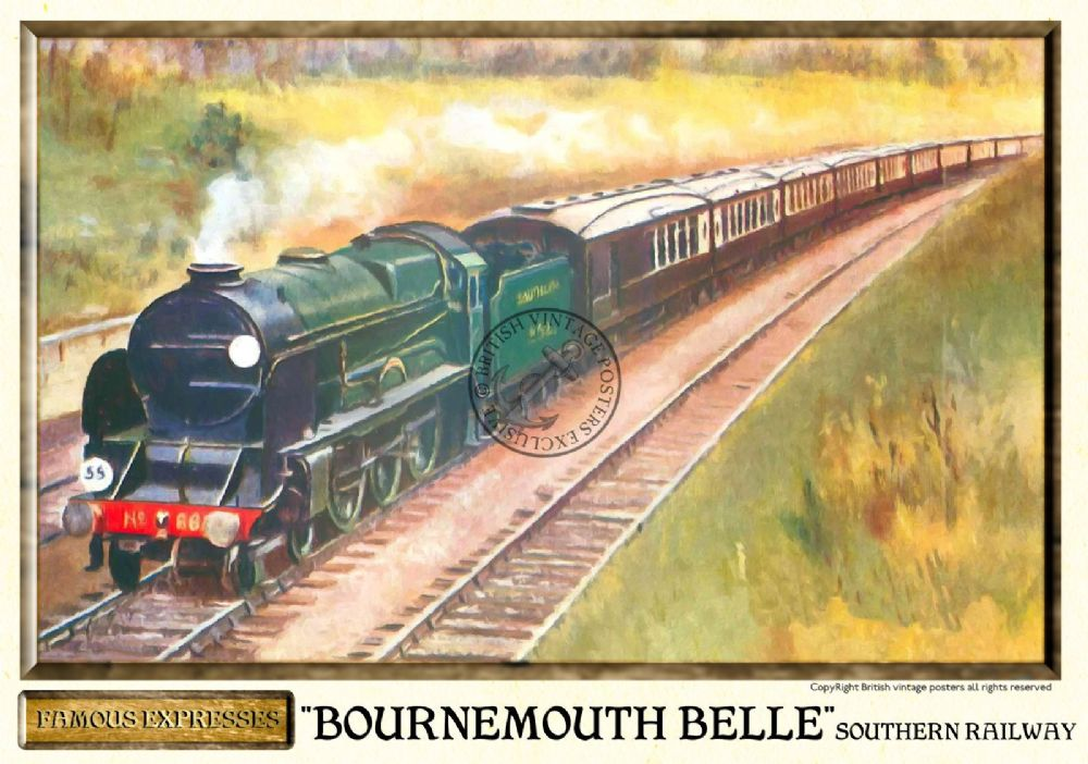 Southern railways bournemouth belle vintage steam train poster for Vintage train posters