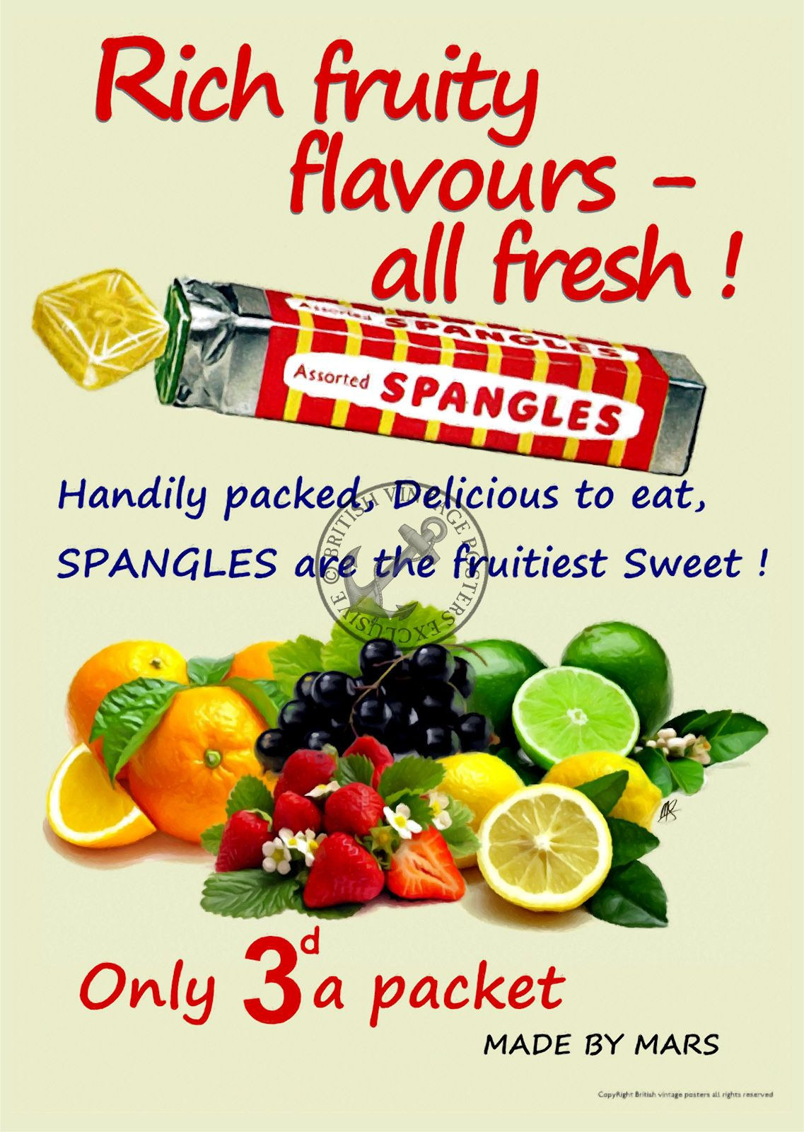 Spangles Fruity 1960 s Sweet Poster