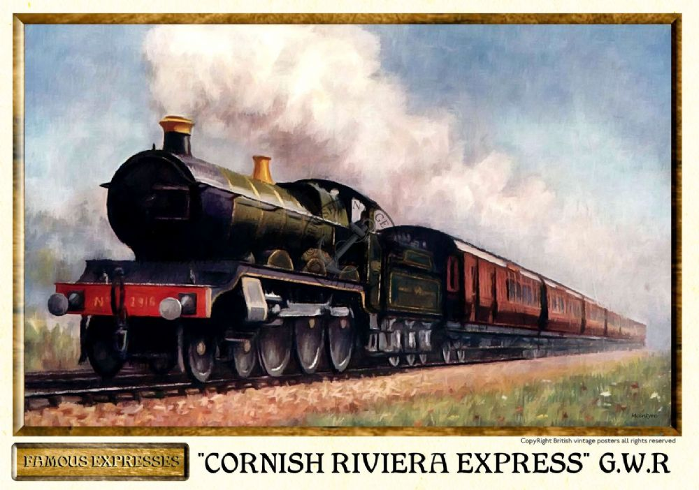 Vintage GWR Cornish Riviera Railway Poster A3 Print
